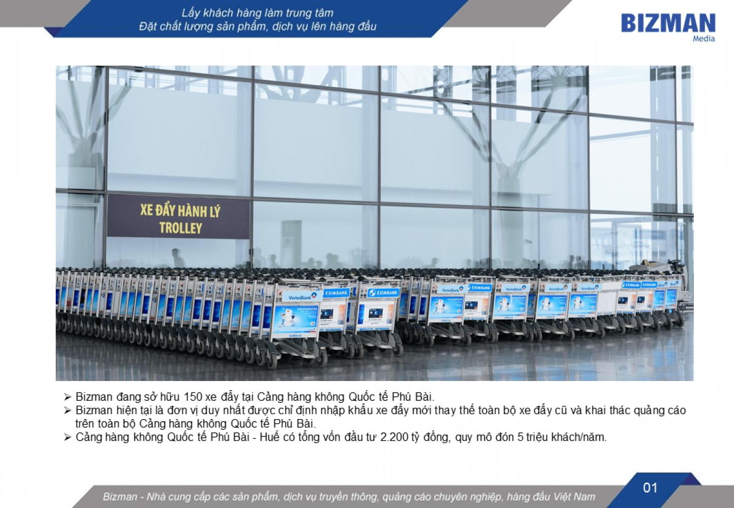 quảng cáo xe đẩy sân bay Phú Bài